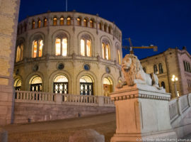 Stortinget (Supreme Legislature) of Norway at night by Steven Michael Martin