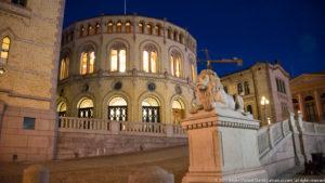 Stortinget (Supreme Legislature) of Norway at night by Steven Michael Martin