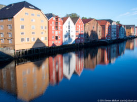 Colorful houses on the river Nidelven in Trondheim by Steven Michael Martin