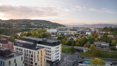 view from Scandia Hotel near lerkendal stadion (stadium) by Steven Michael Martin